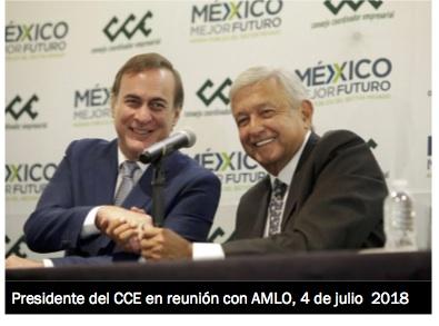 Presidente CCE con amlo